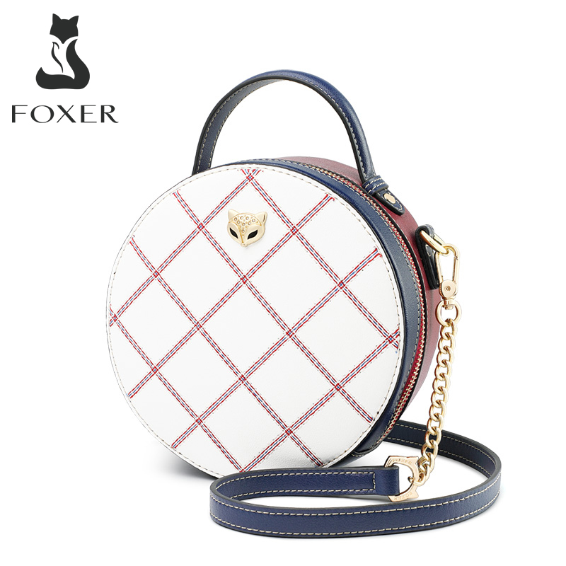 FOXER Mini Round Handbag Lady Split Leather Circular Crossbody Shoulder Bags Female Stylish Cellphone Pocket Women Small Totes|Top-Handle Bags| - AliExpress