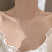 Filluck 925 Sterling Silver Necklace For Women Zircon Pendant Necklace Fine Jewelry Chain Wedding Gift