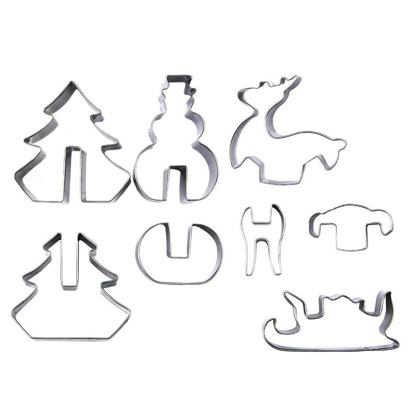 8 Pcs 3D Christmas Cookie Cutters Set Cookie Cutters Holiday Cookie Biscuit Cutter Set Snowman Christmas Tree Reindeer Sled for|Waffle Molds| |  - title=