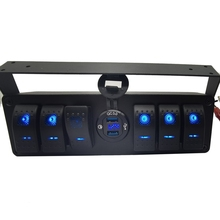6 Gang Rocker Toggle Switch Panel W/Quick Charge 3.0 USB Charger & Voltmeter Marine Boat Truck Car 12V-24V Blue Led