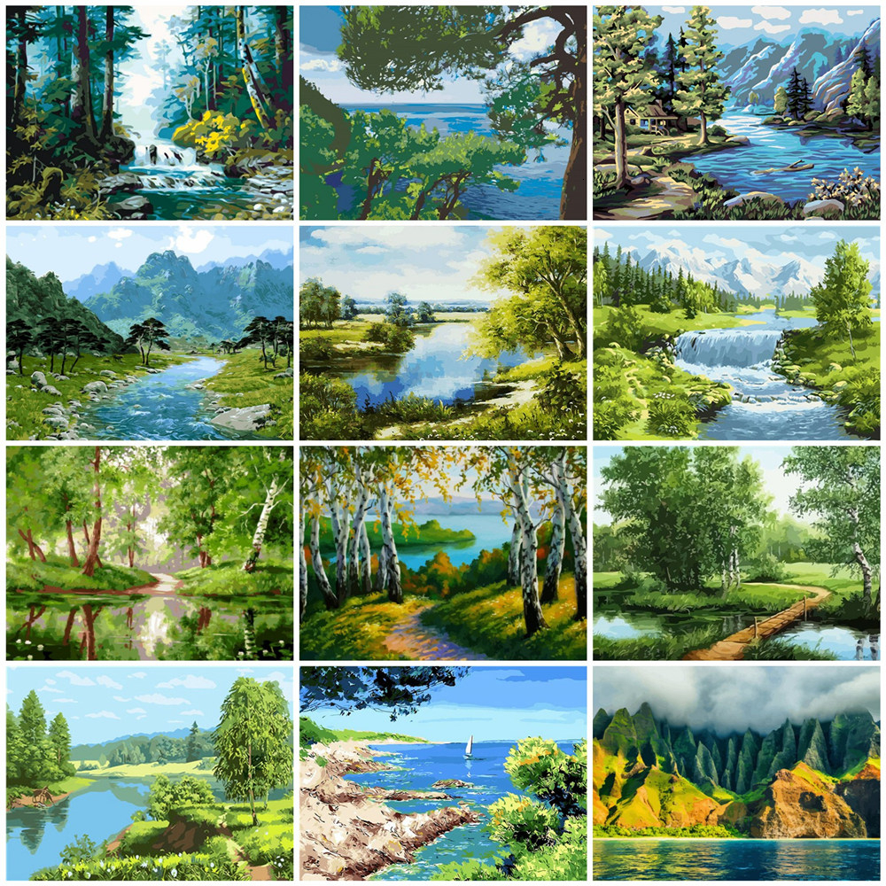 HUACAN Paint By Numbers Landscapes Acrylic Drawing Canvas Oil Painting By Numbers Full Set For Adults Home Decoration Gift