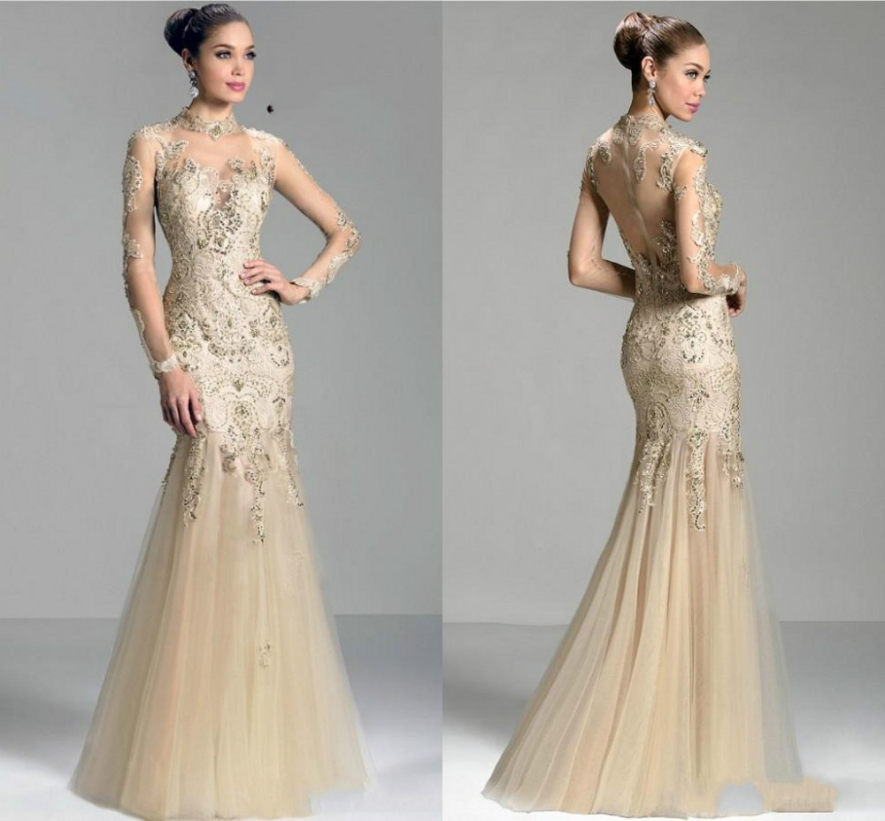 New Design Luxury Full Sleeves Sheer Mermaid Floor Length Mother Of The Bride Dress Applique Beads High Neck Organza Champagne