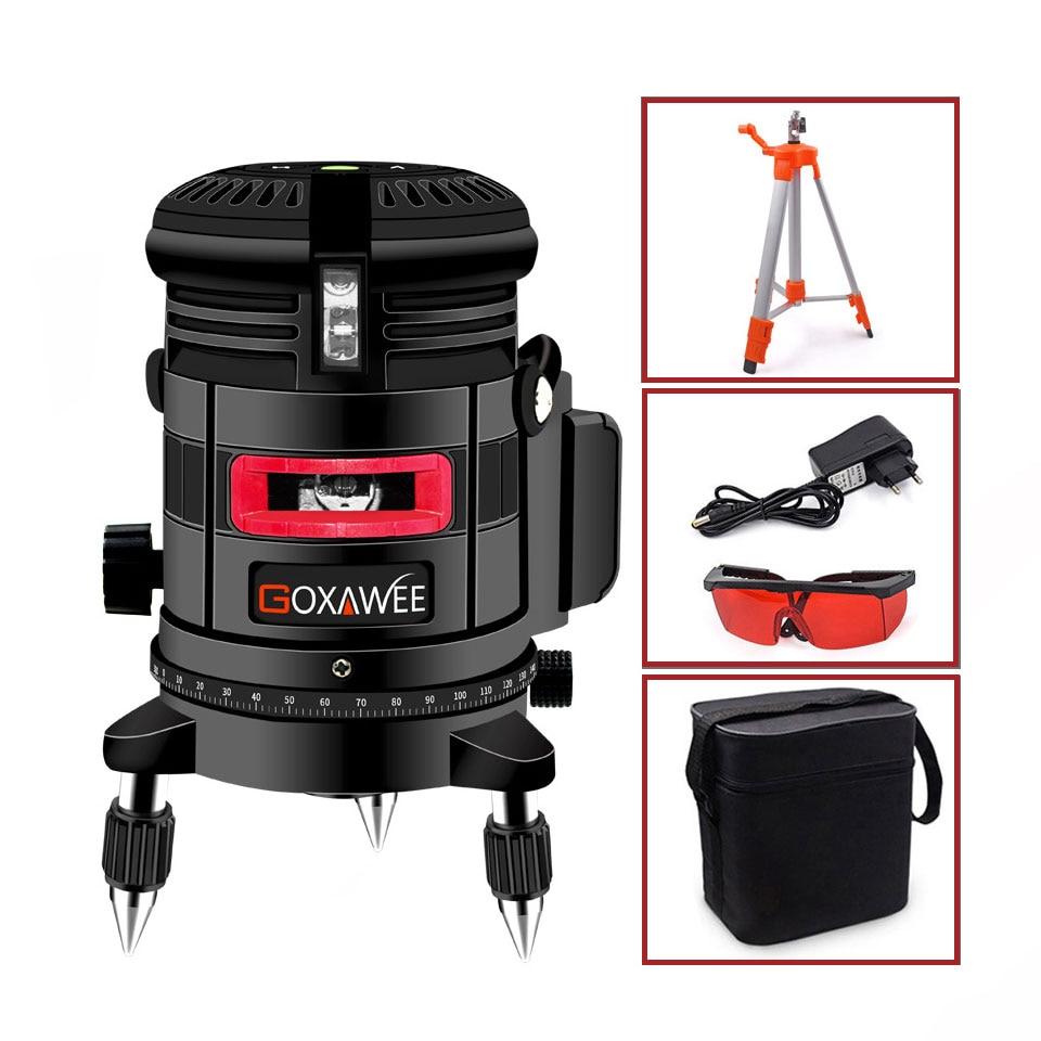 GOXAWEE, красный лазерный уровень, 360 градусов, перекрестная линия, вращающийся уровень, измерительные приборы, 5 линий, 6 точек, для строительных инструментов - Цвет: 5041-3105