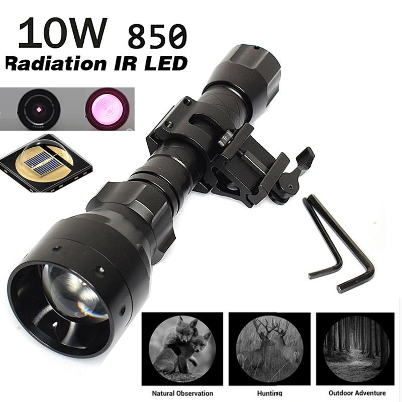 Hunting Flashlight 10W Infrared Radiation IR 850nm Night Vision T50 Zoomable Infrared Flashlight Hunting Torch illuminator+mount