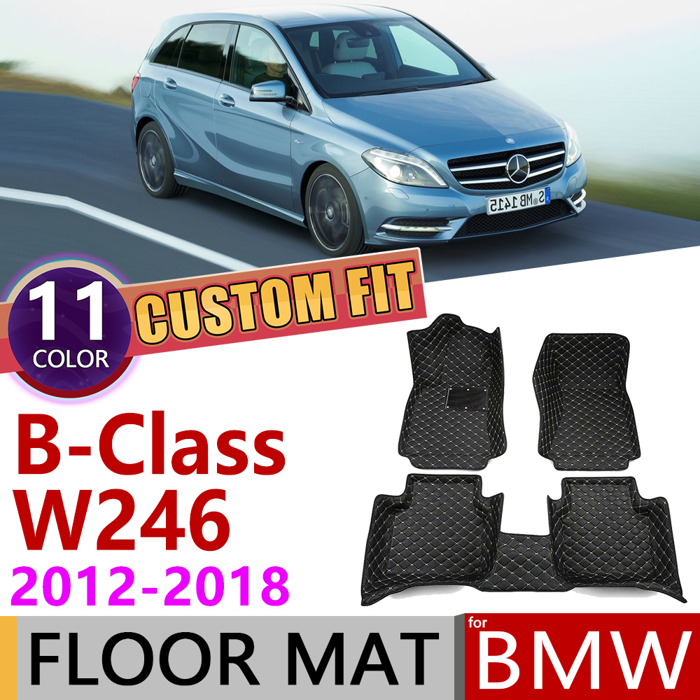 Custom Leather Car Floor Mats for <font><b>Mercedes</b></font> Benz B Class <font><b>W246</b></font> 2012~2018 5seats Foot Pad Carpet Accessories B180 <font><b>B200</b></font> B260 2013 image