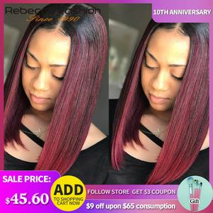 Rebecca lace front human hair wigs For Black Women Peruvian Remy Straight bob lace front wigs ombre human hair wig Free Shipping