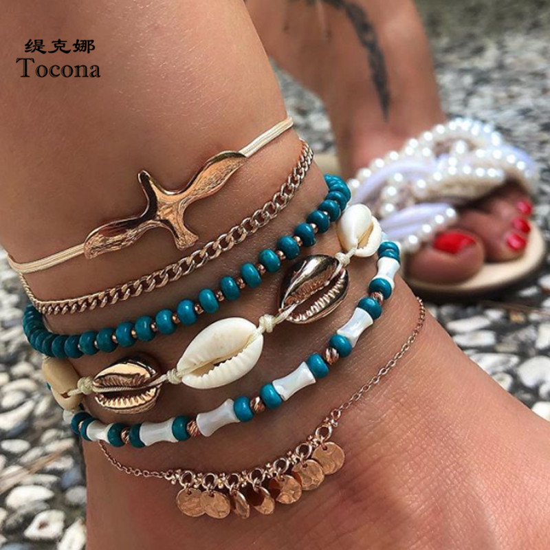 Tocona 6pcs/sets Shell Bead Anklets for Women Boho Pigeon Gold Wafer Tassel Foot Chain Rope Summer Jewelry Wholesle 8840