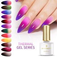 GEBOREN ZIEMLICH Thermische Farbwechsel Gel Nagellack Glitter Temperatur Weg Tränken UV Gel Lack 6ml Nail art Maniküre design