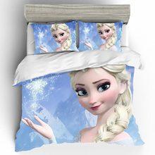 Кровать в стиле аниме Комплект постельного белья Эльза домашний текстиль 3D King size покрывало роскошный комплект постельного белья для пары одеяла и комплекты постельного белья постельное белье хлопок