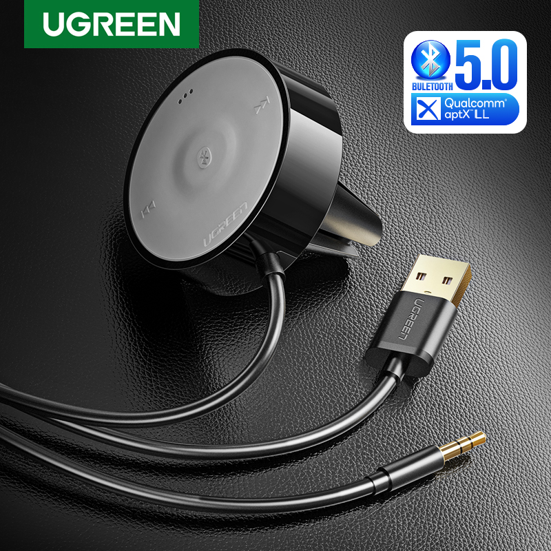UGREEN aptX LL Bluetooth Kit de coche receptor de Audio Bluetooth 5,0 adaptador de micrófono 3M de Base magnética Clip de rejilla de ventilación Dual USB cargador de coche