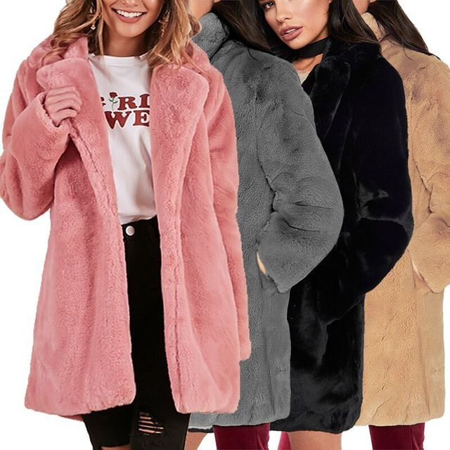 HCYO Autumn Winter Women Fur Coat Plus Size 3XL Covered Button Furry Faux Fur Coats Women's Long Loose Soft Rabbit Fur Overcoat