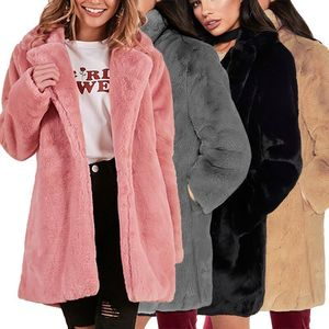 Image 5 - Hcyo Herfst Winter Vrouwen Bontjas Plus Size 3XL Bedekt Knop Furry Faux Bontjassen Vrouwen Lange Losse Zachte konijnenbont Overjas
