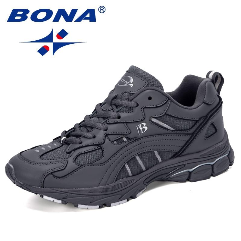 BONA 2020 New Designers Action Leather Sport Running Shoes Men Breathable Sneakers Outdoor Jogging Walking Footwear Man Trendy