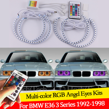 For BMW E36 3 Series with Euro headlights 1992-1998 16 colors RGB Angel Eyes LED Halo Rings RF Wireless Control DRL image