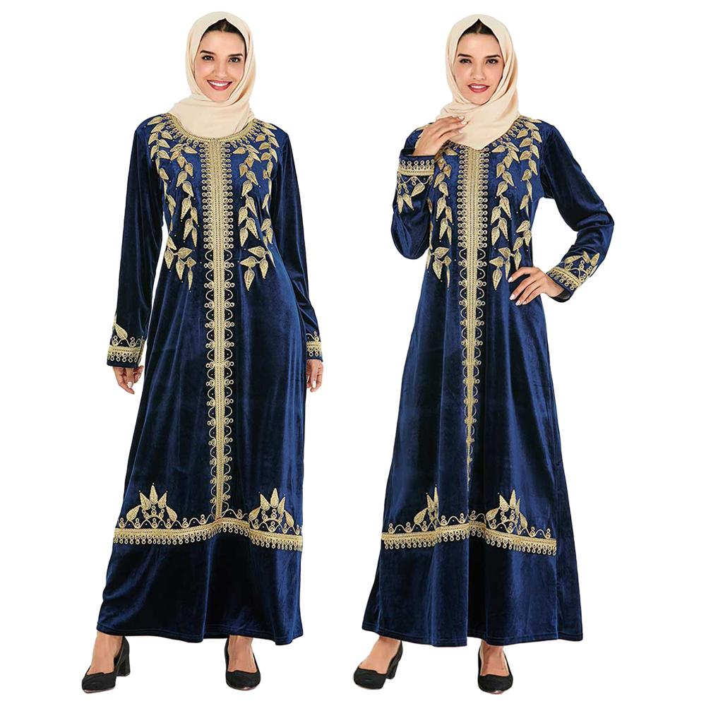 Vintage velours Abaya dubaï Maxi longue Robe musulmane femmes broderie Cardigan arabe Caftan Jilbab turquie Robe de mode Caftan hiver