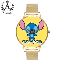 Lilo & Stitch Watch Gold Stainless Steel Fashion Casual Ladies Kids Children Quartz Wristwatch Cartoon Clock