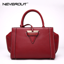 NEVEROUT High Quality Genuine Leather Handbags for Women Solid Tote Bags Ladies Fashion Handbag Totes Dress Style Shoulder Sac