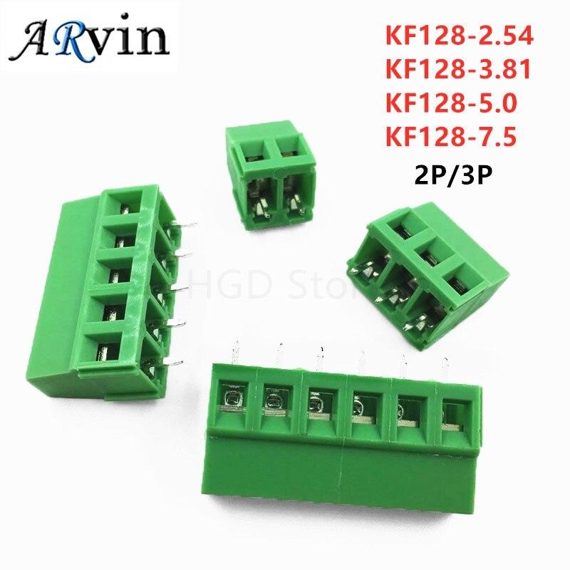 10Pcs KF128-2Pin/3Pin 2.54 / 3.81 / 5.0 / 7.5mm Spacing Terminal Block Splice Terminal Screw Type PCB Screw Terminal