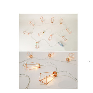 Image 3 - Novelty LED Fairy Lights Rose Gold Geometric Bedroom String Light for Wedding Decorations Party Indoor Garden Garland Lighting