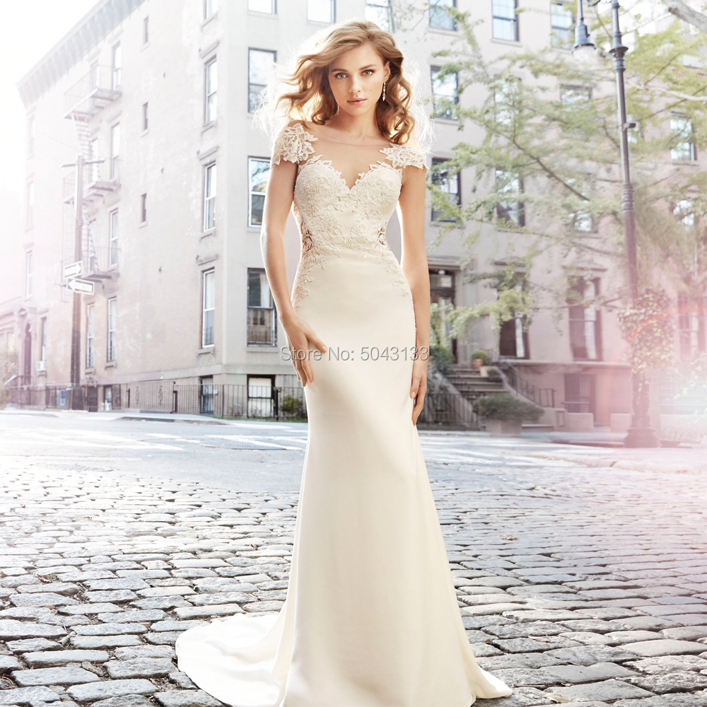 Elegant Satin with Lace Illusion V neck Mermaid Wedding Dresses Sexy Backless Short Sleeves Bridal Dress Boho Wedding Gowns 2019-in Wedding Dresses from Weddings & Events