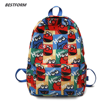 купить Fashion Canvas Women Backpacks Cute Cartoon Female Travel Shoulder Bag School Bags for Teenage Girls Harajuku Backpack Mochila дешево