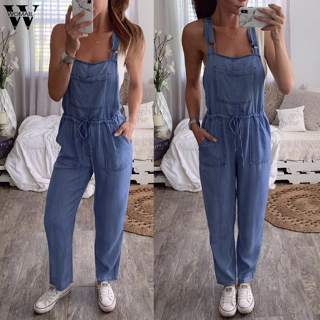 Womail Jumpsuit Women Fashion Sleeveless long bodysuit Ladies Overalls Denim Jeans Romper Loose Pocket Wide Leg Playsuit 919