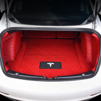 For Tesla model 3 High quality Leather Carpet Car Trunk Mat Pad Interior Auto  Protector Accessories