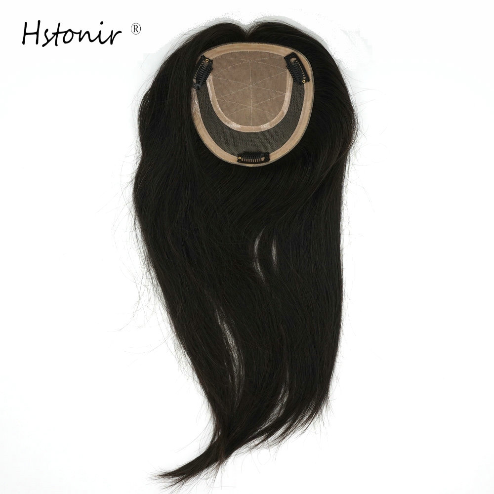 Hstonir Silk Base Top Women Crown Hair Replacement System Topper Top Piece Wig Indian Remy Hair TP20