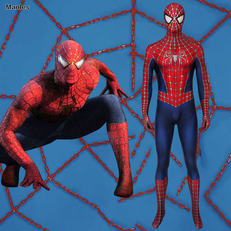 Spider-Man 2 Cosply Peter Parker déguisement Spiderman Tobey Maguire superhéros body Zentai Hallwoeen adulte Spandex Costumes