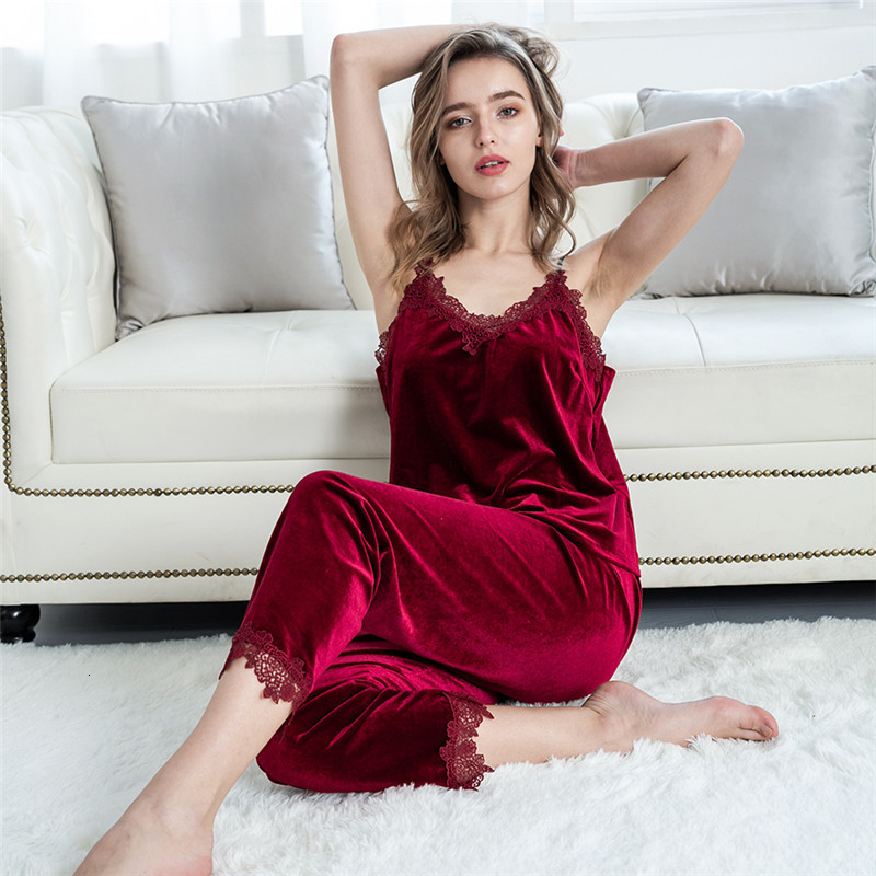 Hec7f95879a404f379c755d1d72afa46fp - JULY'S SONG Gold Velvet 4 Pieces Warm Winter Pajamas Sets Women Sexy Lace Robe Pajamas Sleepwear Kit Sleeveless Nightwear