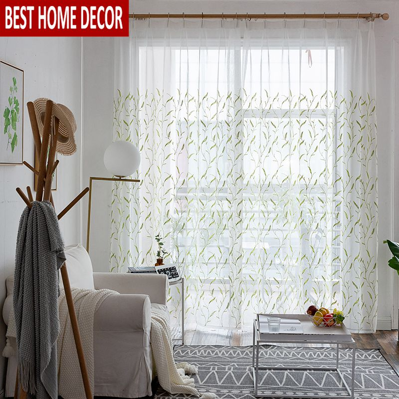 Floral Tulle Sheer Window Curtains For Living Room The Bedroom Modern Voile Organza Curtains Fabric Blinds Drapes For Kitchen Curtains Aliexpress