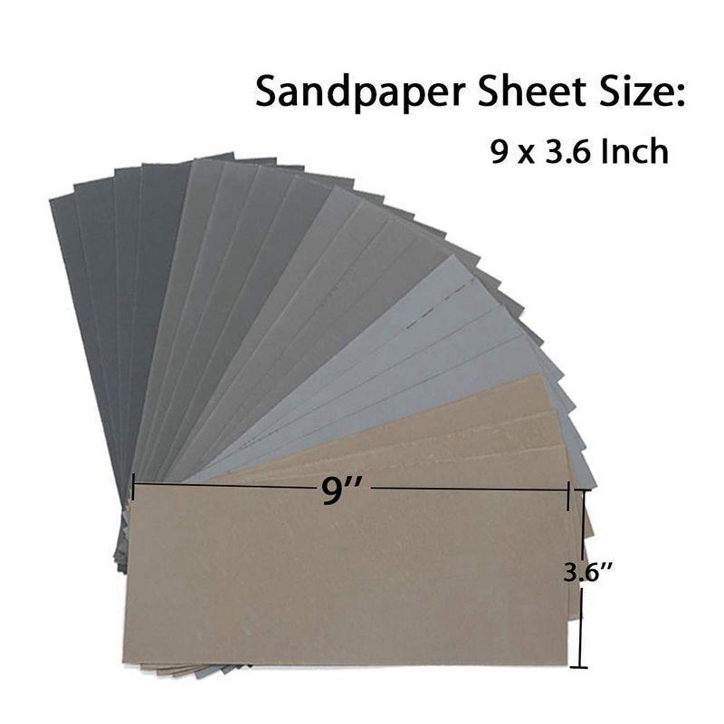 20 шт Влажная и сухая наждачная бумага, высоким песка 1000/2000/3000/5000/7000 наждачная бумага ассортимент для дерева металлическими полировальными автомобильной песок