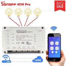 Itead Sonoff 4CH Pro Wifi Switch 4 Gang Inching Self Locking Interlock WiFi RF Control Smart Switch App Remote Works with Alexa