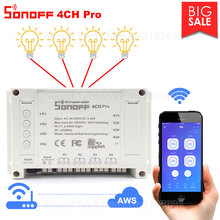 Itead Sonoff 4CH פרו Wifi מתג 4 כנופיית התקדם עצמי נעילה משתלבים WiFi RF שליטה חכם מתג App מרחוק עובד עם Alexa