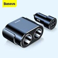 Baseus rozdzielacz zapalniczki 12V ładowarka samochodowa podwójny USB 100W gniazdo zasilacza do pojazdu samochodowego rozdzielacz cygarowy W samochodzie