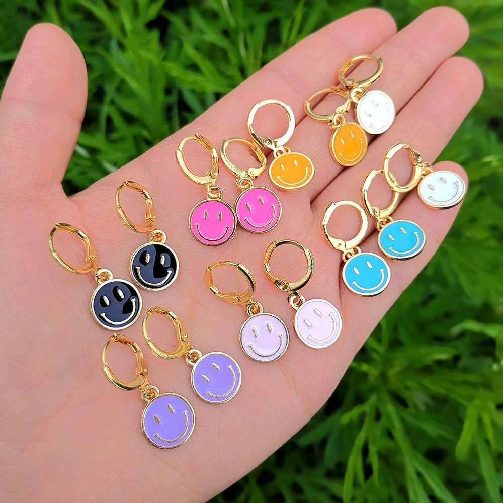 Lost Lady Cute Round Similing Face Huggies Hoop Earrings for Women Fashion Girls Multicolor Enamel Hanging Earrings Wholesale