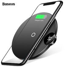 Baseus светодиодный Qi Беспроводное зарядное устройство для iPhone 11 Pro Xs Max X 10 Вт быстрая Беспроводная зарядная площадка для samsung S10 S9 Xiaomi Mi 9