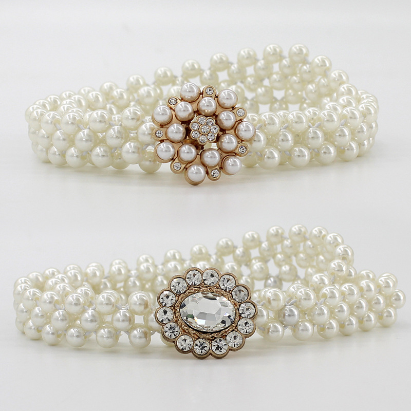 Corset Belt For Women Elastic Waistband Dress Decoration Rhinestone Pearl Fine Fashion Elastic Belt Female Waist Chain Fashion