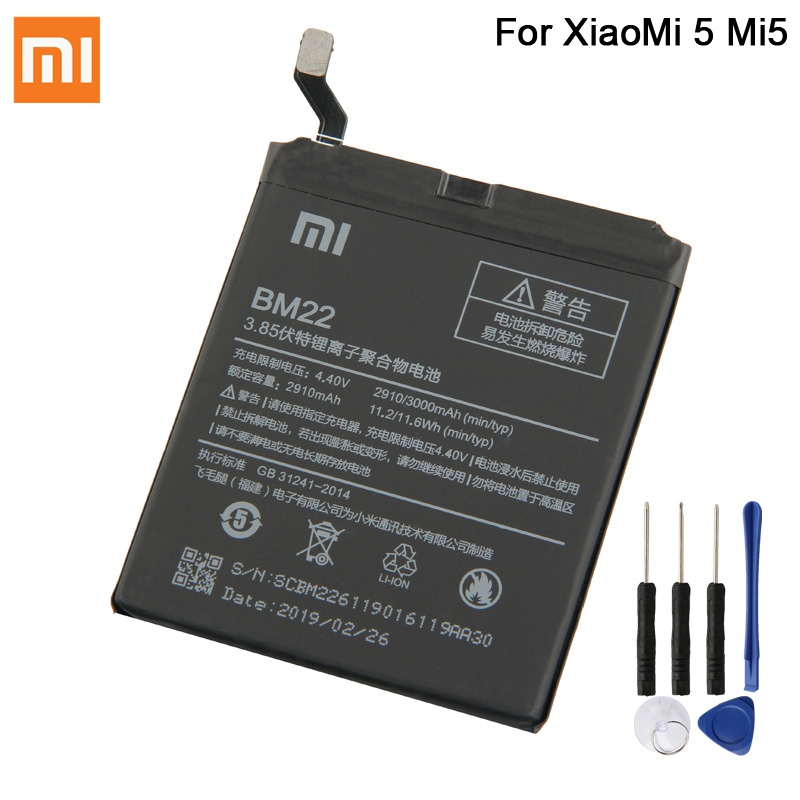 Original XIAOMI BM22 Replacement Battery For XiaoMi 5 Mi5 M5 Prime Authentic Phone Batteries 2910mAh