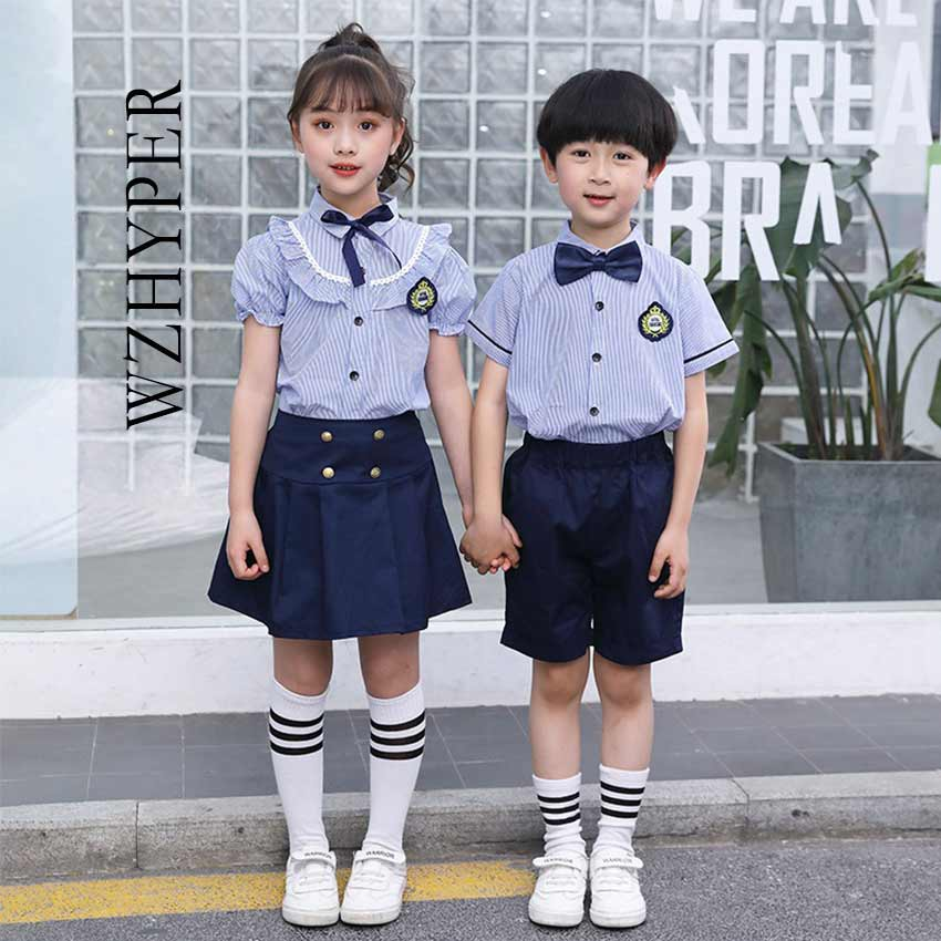 2020 New Children Korean Japanese Student School Uniforms Girls Boys Kid Cosplay British Style Bule Top Shorts Skirts Outfits