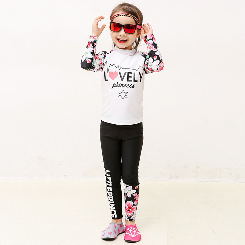 Yong Yi Dynamic CHILDREN'S Swimsuit 2017 New Style Floral-Print Cartoon Long-sleeved Swimsuit Women's Korean-style Two-piece Swi