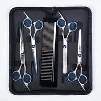 Conjunto de tijeras Para cuidado de mascotas de 6 pulgadas, curvo y recto, Kit de tijeras de corte Para perros y gatos, tijeras de adelgazamiento Para cabello Tesoura