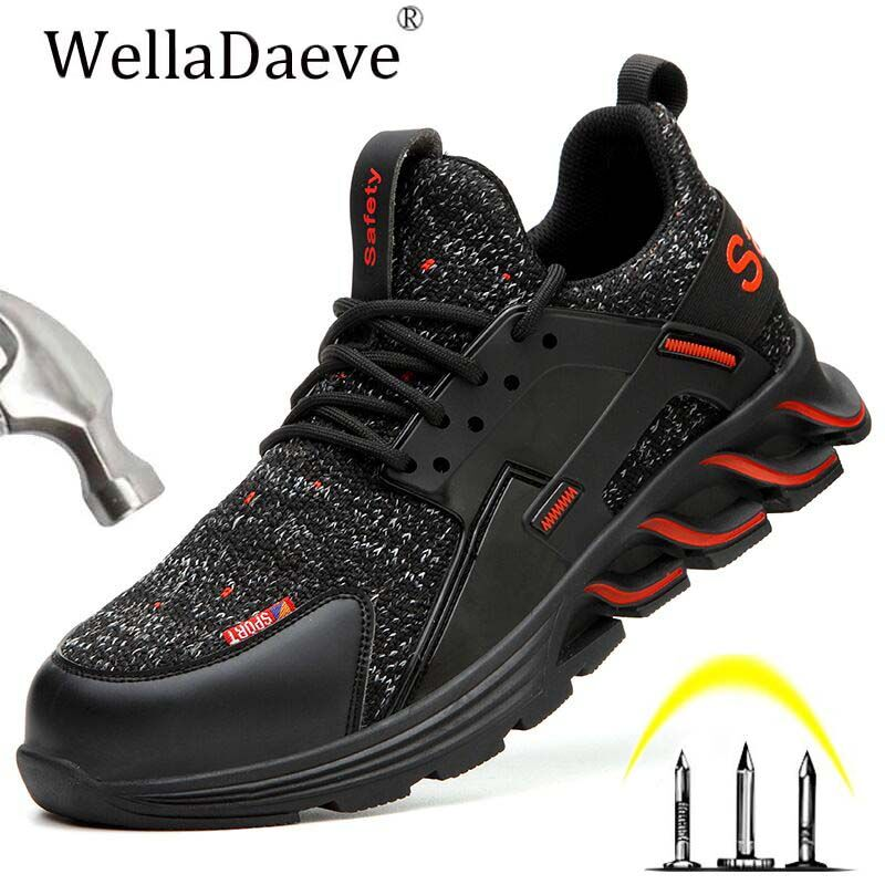 Men Steel Toe Work Safety Shoes Construction Outdoor Protective Footwear Puncture Proof Anti-smashing Ankle Boots Casual Sneaker