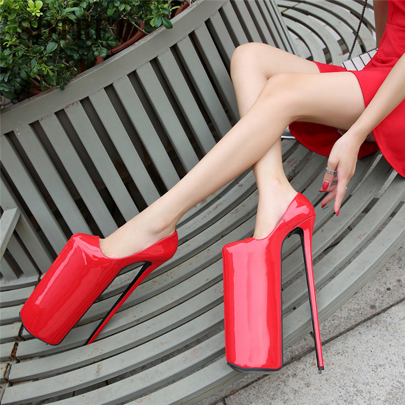 SDTRFT New Designer Stilettos platform Crossdresser <font><b>30cm</b></font> Ultra High Thin <font><b>heels</b></font> Girl's shoes woman Lolita Uniform Buckle pumps image