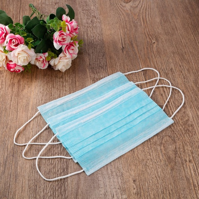 50pcs/100pcs Disposable Masks Anti-fog Dust Mask Blue Nonwove 3 Layer Ply Filter Mouth Mask PM2.5 Protective Face Mask 3