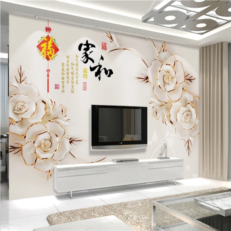Classic Chinese Style Living Room TV Background Wall Mural Wallpaper 3D Family Harmony Theme 3D Flower Wall Papers Home Decor