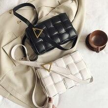 Shoulder Handbags Crossbody-Bags Weave Travel Small Female Fashion Women Solid PU