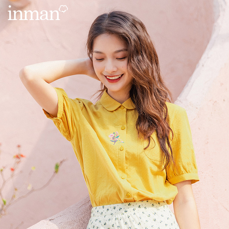 INMAN 2020 Summer New Arrival Cotton Lapel Literary Simple And Elagant Embriodered Casual Short Sleeve Blouse