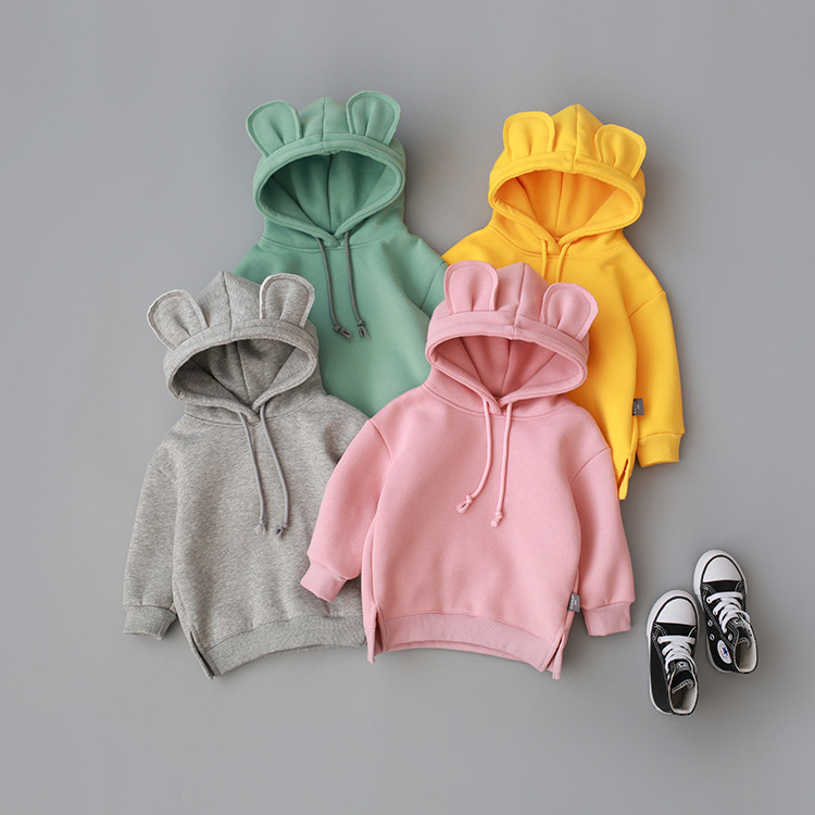 2020 New Fashion Baby Boys Girls Clothes Solid Color Pullover Hooded Long Sleeve TOP Kids T Shirt Outwear Coat Sweatshirts