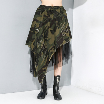 elastic waist scallop hem textured skirt Denim Midi Skirt Plus Size Women High Elastic Waist 2020 Summer Camouflage Jean Skirt Patchwork Irregular Mesh Ripped Tear Hem